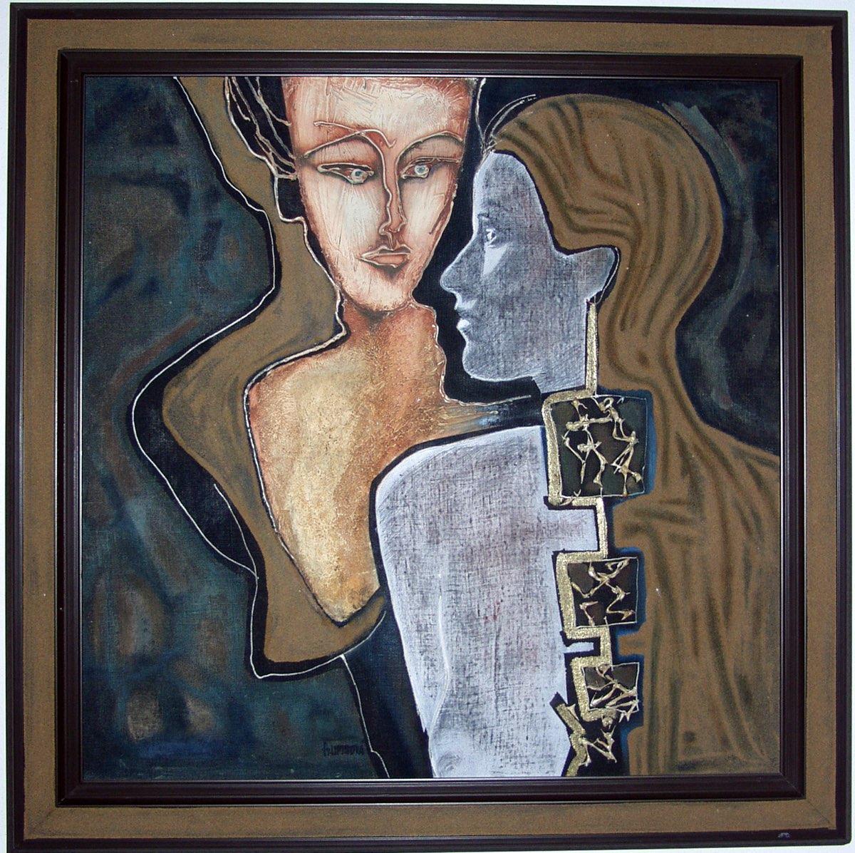 ALENA LIPINOVÁ Dvě - komb. tech., 70 x 70 cm