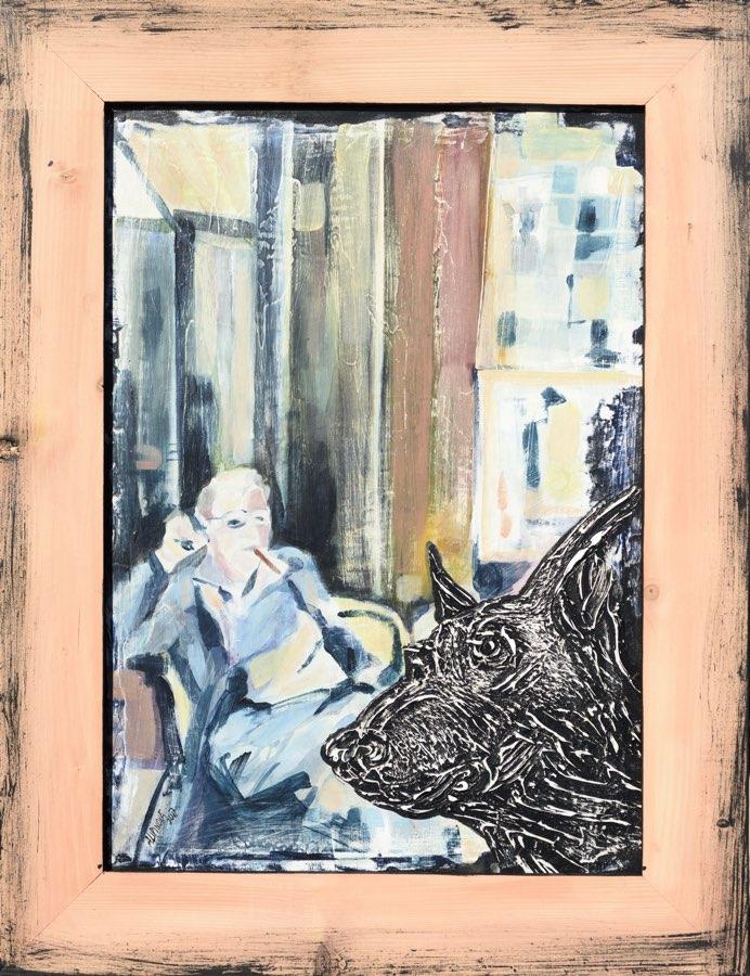 ALENA LIPINOVÁ Pán ajeho pes na ranní kávě 42x60