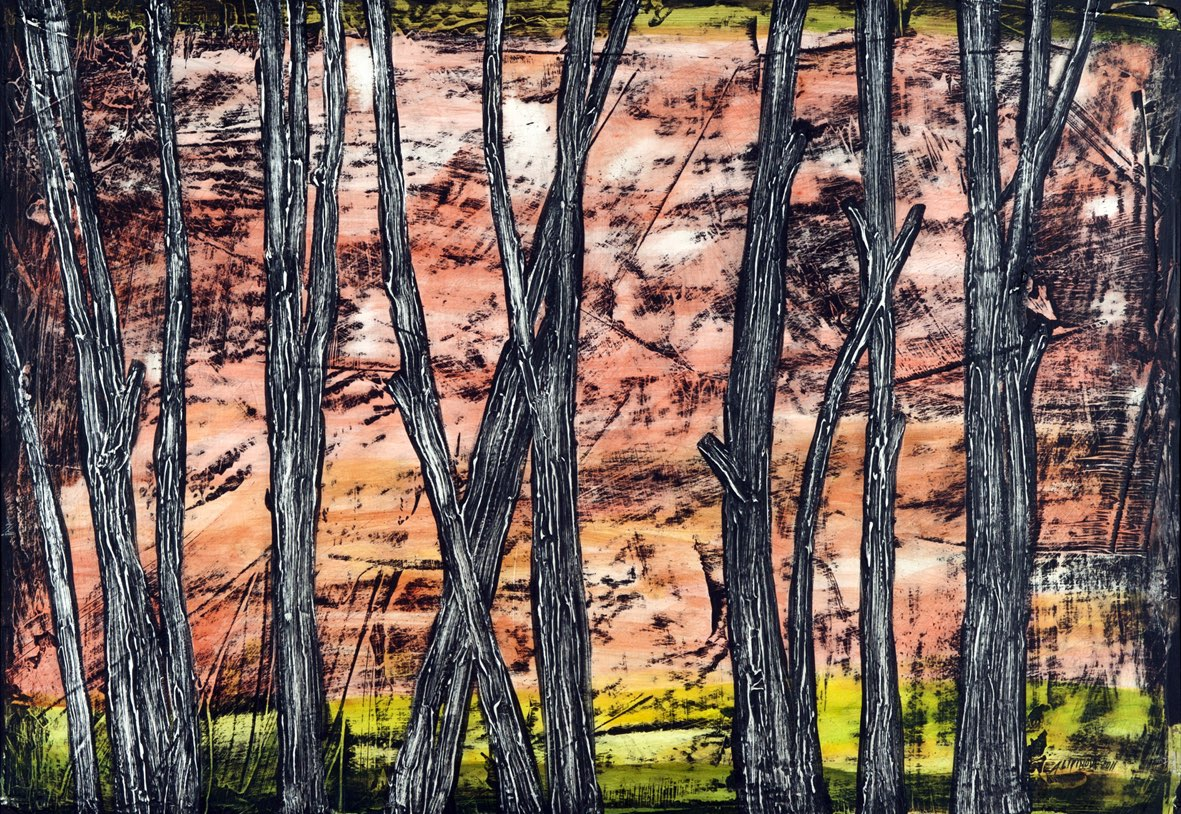 ALENA LIPINOVÁ Stromy u Staré Paky - komb. tech., 70 x 100 cm