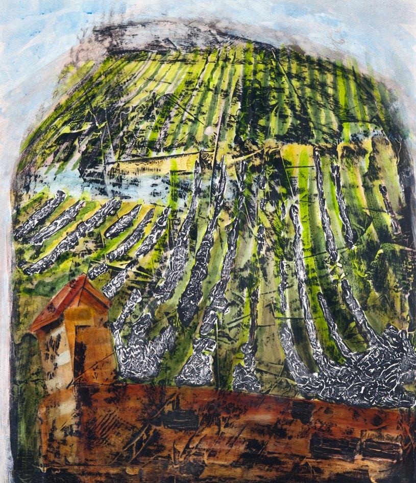ALENA LIPINOVÁ Vinice v Barru, Alsasko - komb. tech., 80 x 70 cm