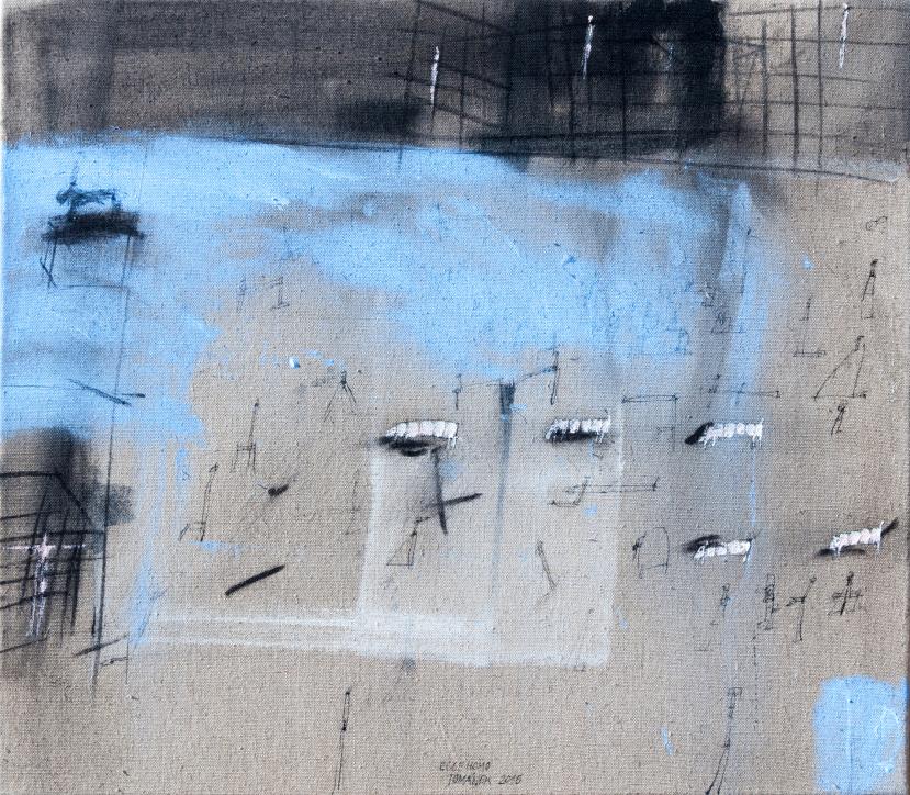 ZDENĚK TOMÁNEK - ECCE HOMO, 70x80 cm, kombinovaná technika