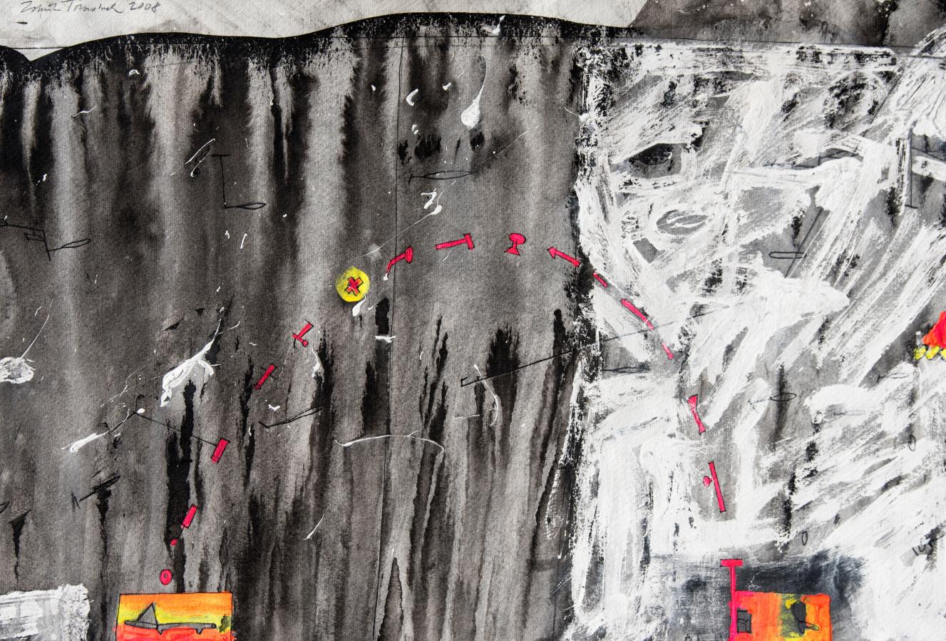 ZDENĚK TOMÁNEK - PŘELETOCHOD 38x55 cm, kombinovaná technika