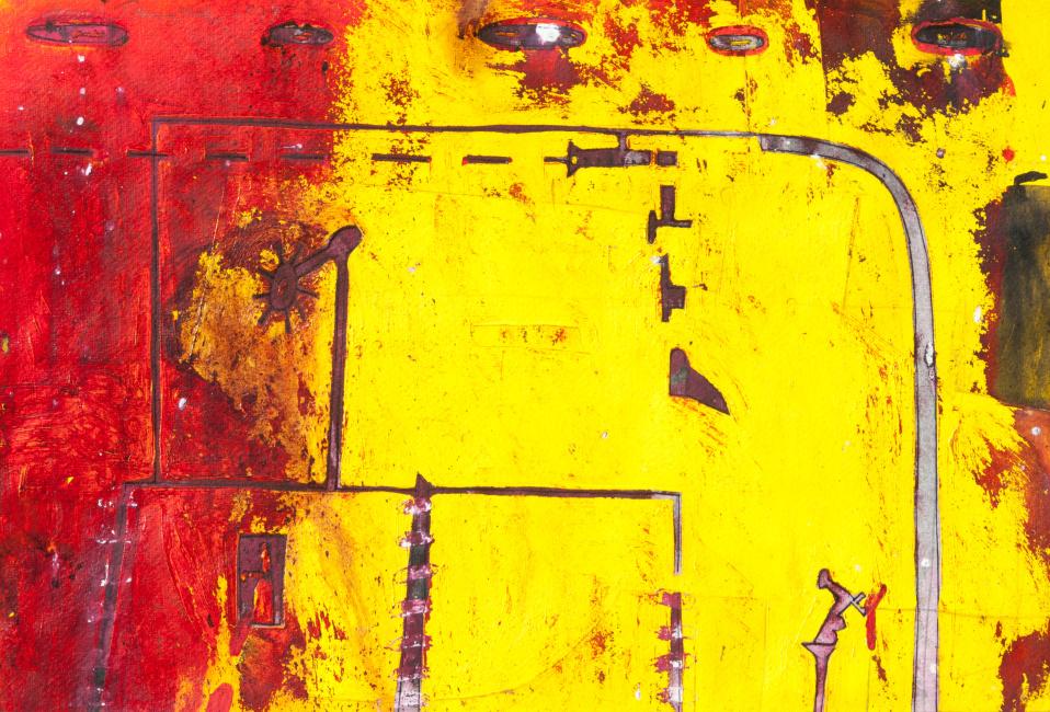 ZDENĚK TOMÁNEK - PŮDORYSY 38x50 cm, kombinovaná technika
