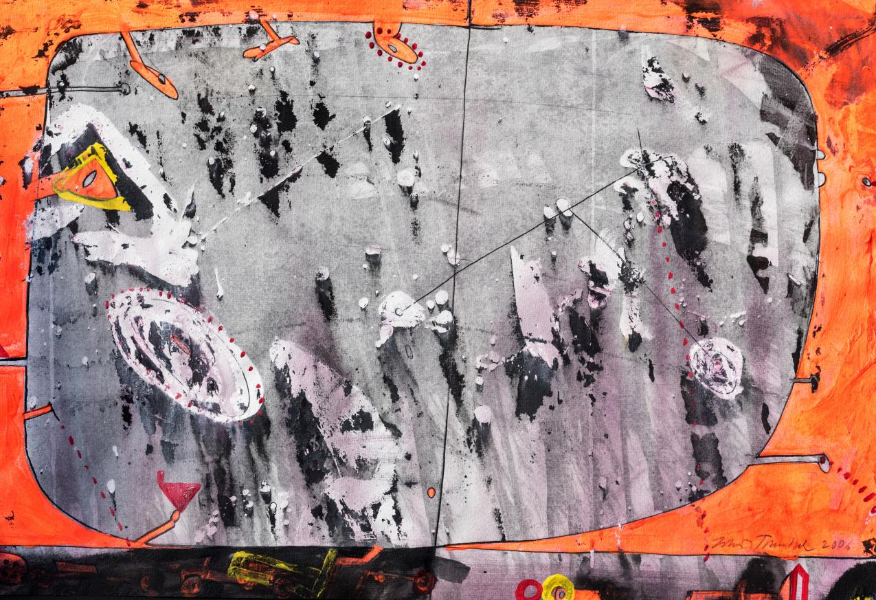 ZDENĚK TOMÁNEK - PRŮZOR, 40x55 cm, kombinovaná technika