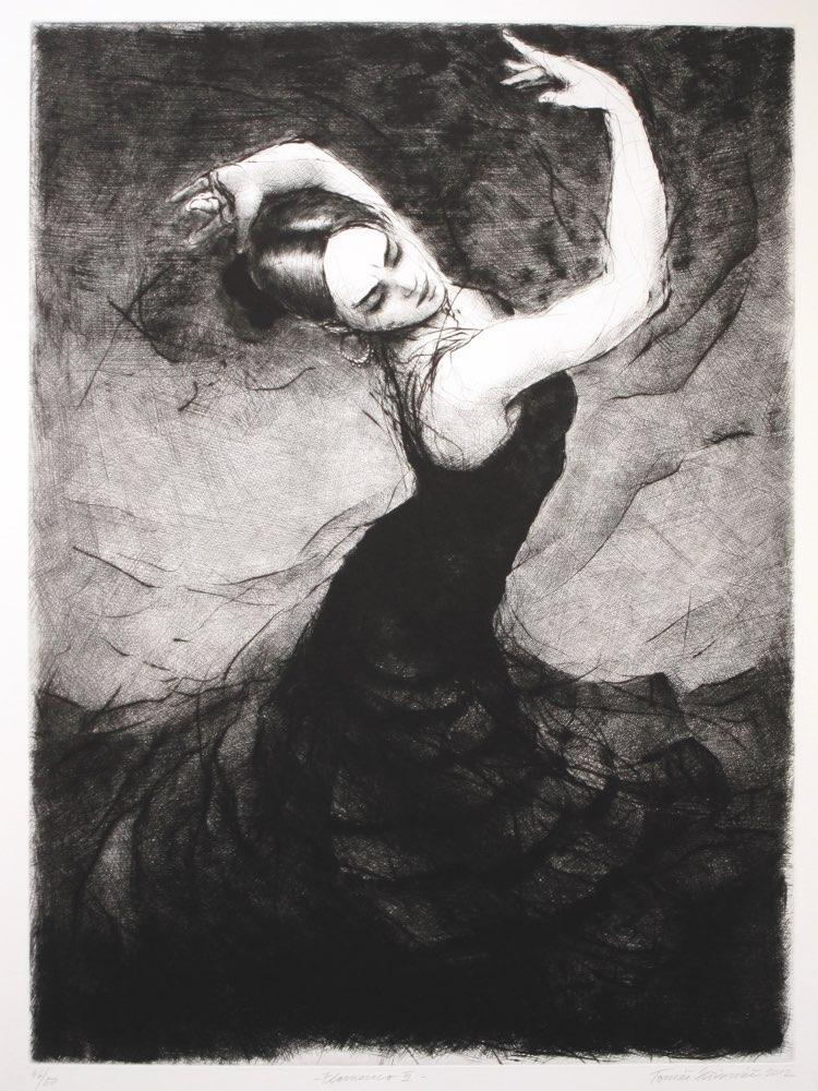 TOMÁŠ HŘIVNÁČ Flamenco III - suchá jehla, 64 x 87 cm