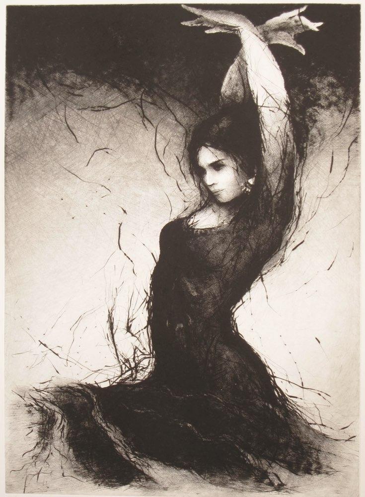 TOMÁŠ HŘIVNÁČ Flamenco IV. - suchá jehla, 67 x 49 cm