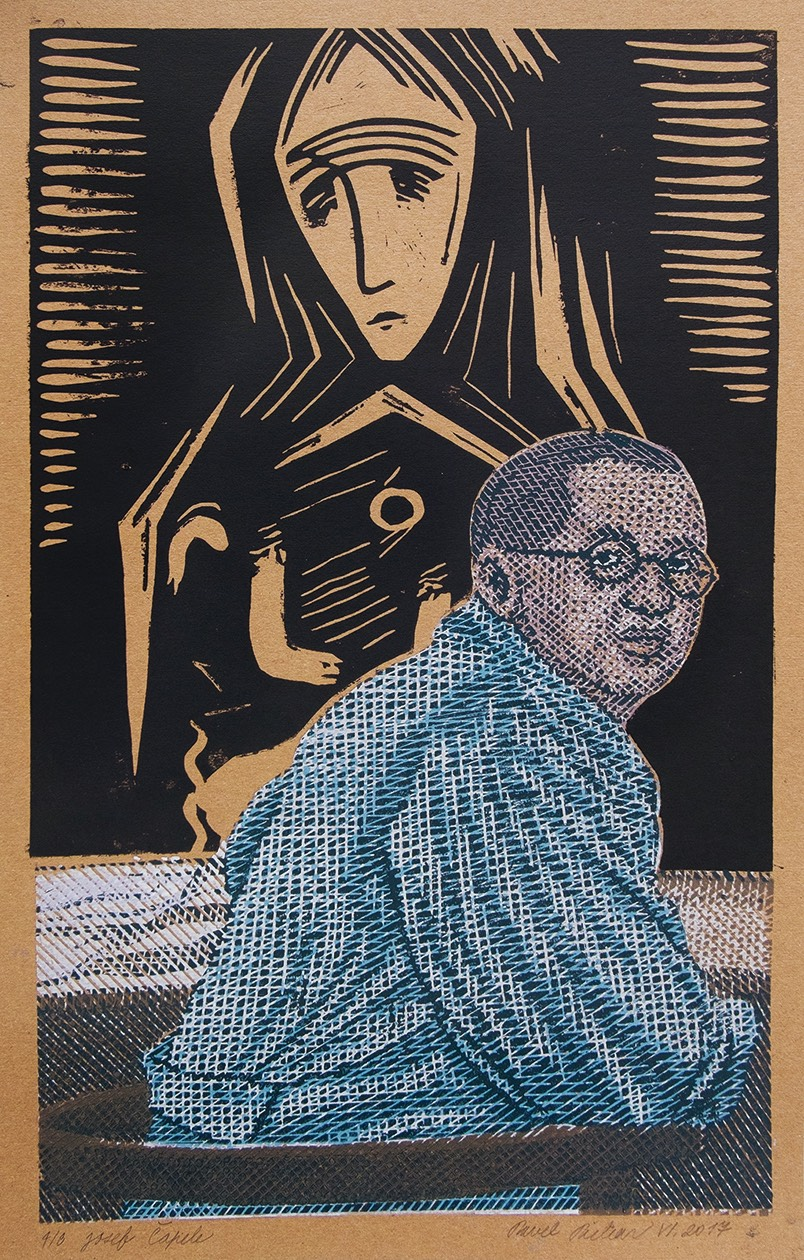 PAVEL PIEKAR Josef Čapek, linoryt, 56x32 cm