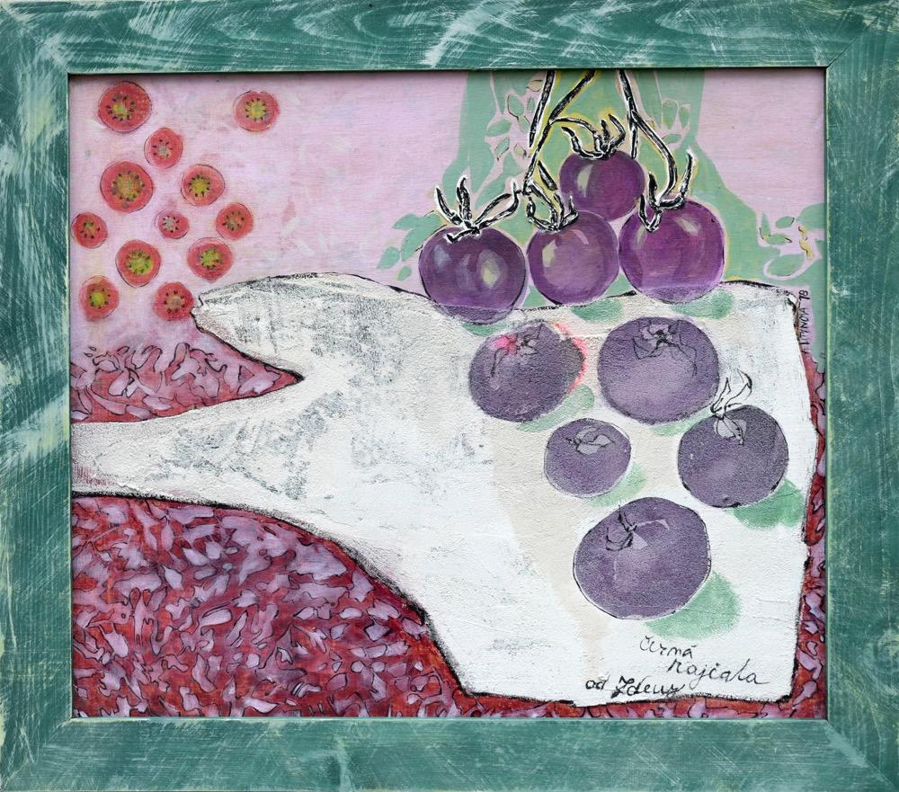 Alena Lipinová Černá rajčata paní Zdeny, 60x70 cm, kom.tech