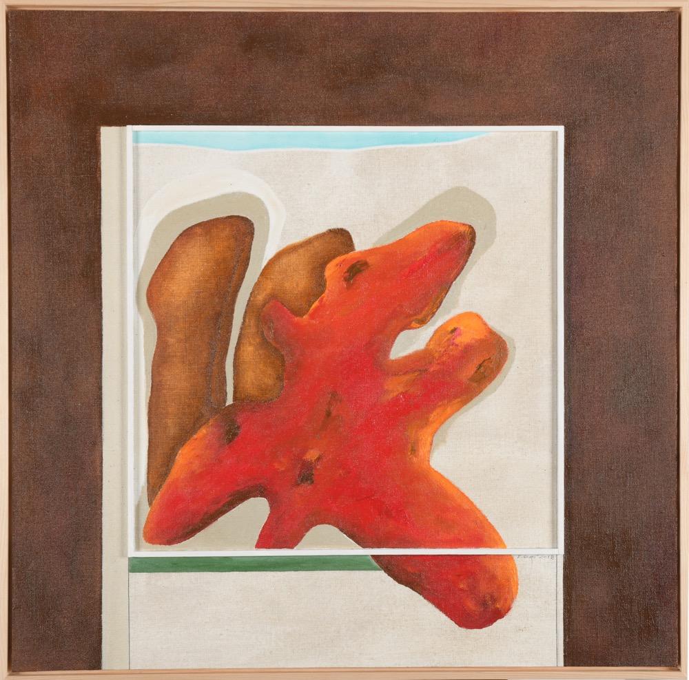 Bohumil Eliáš Domov červené, 77x77 cm, olej