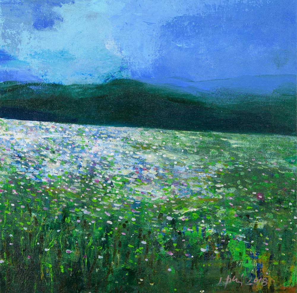 Jan Tichý Makové pole,50x50 cm, akral