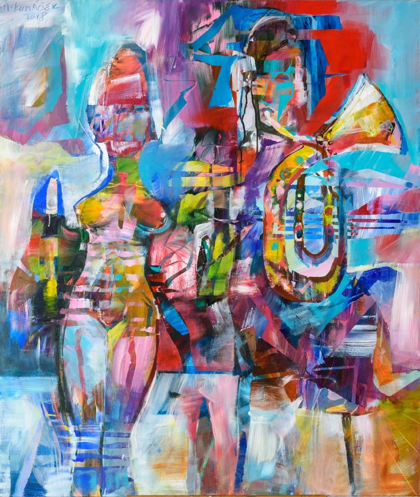 Marian Komáček Medzi dvoma oktávami, 120x100 cm, akryl