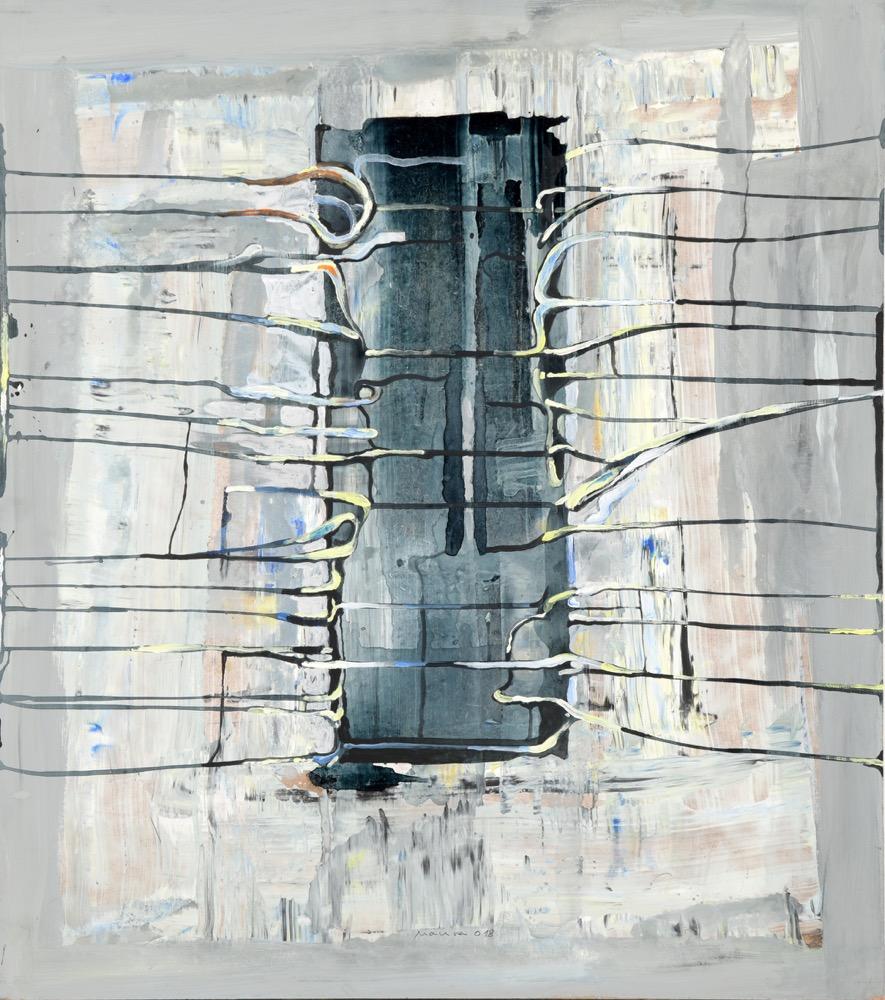 Miroslav Malina Za plotem II,70x60 cm, komb. tech