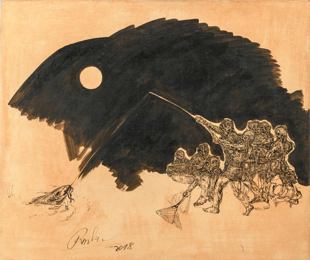 Peter Repka Nočná rybačka, 70x80 cm, komb. tech.