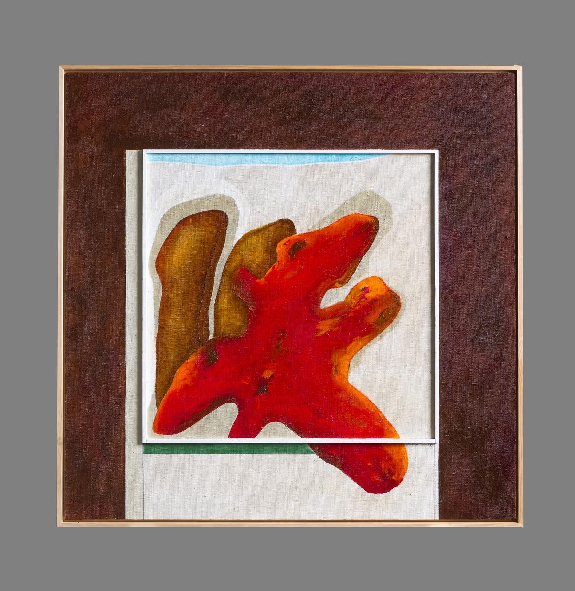 BOHUMIL ELIÁŠ ML. Domov červené, 80x80cm, 2018, olej na plátně