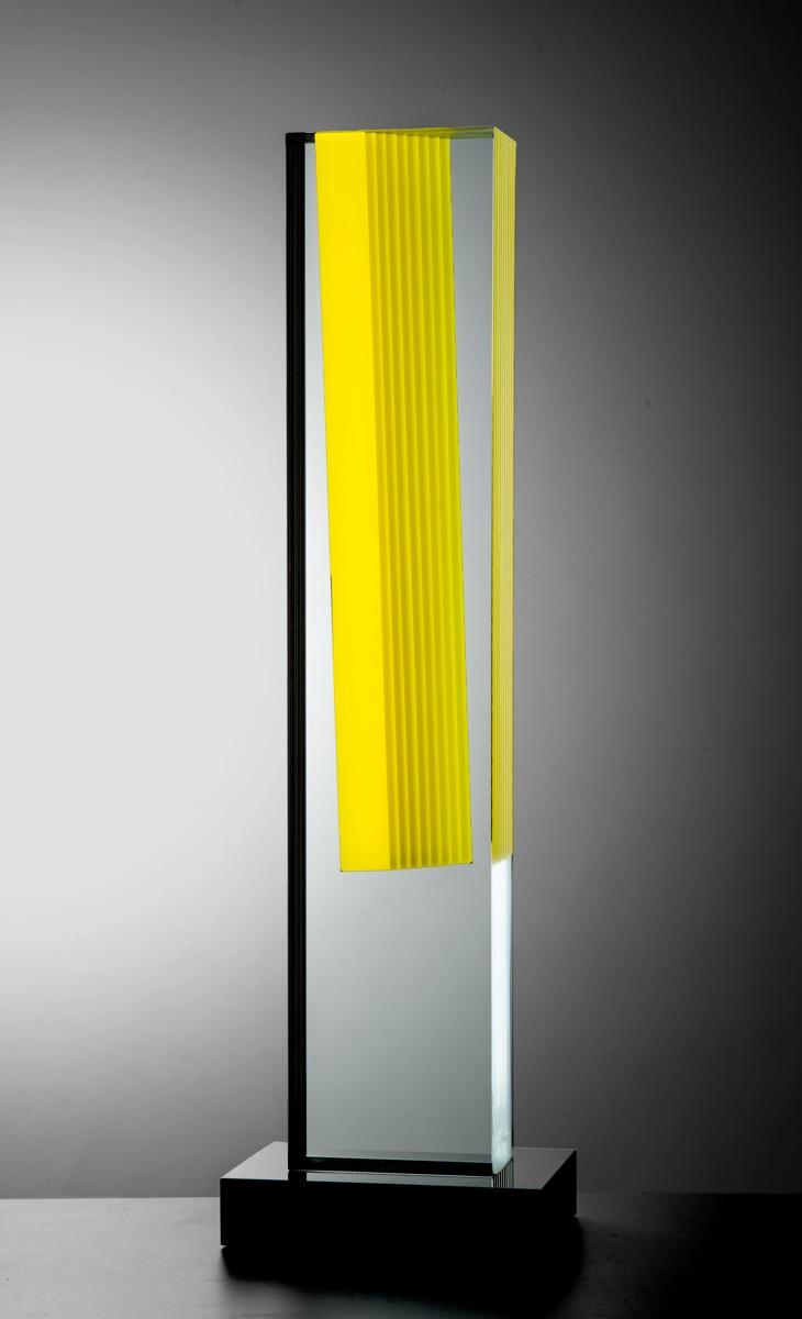 BOHUMIL ELIÁŠ ML. Paprsek, v.85cm, 2017, malované a lepené sklo-kamen
