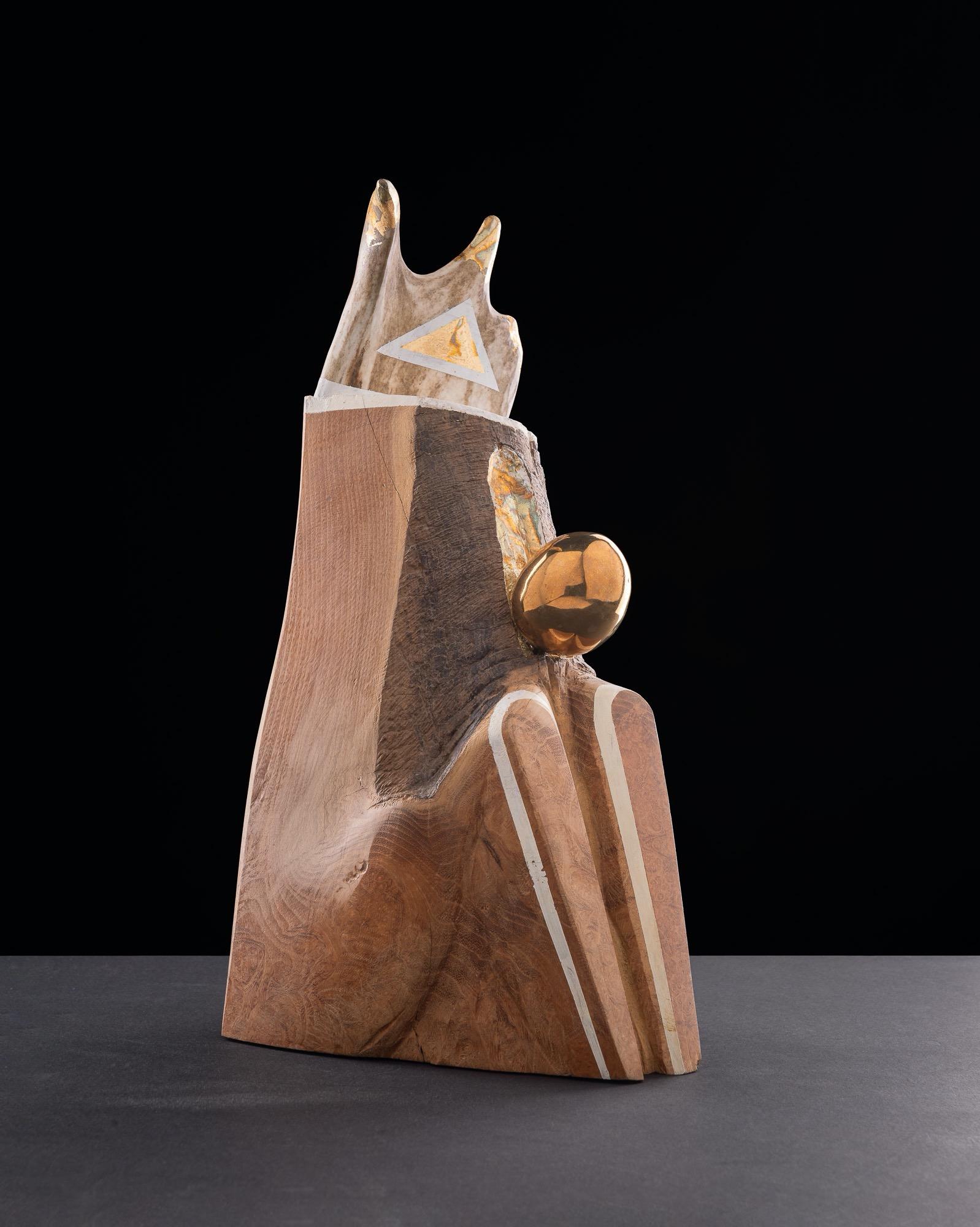 JAKUB BACHORÍK Lesný král´-kolorované drevo, bronz, kosť, 36cm